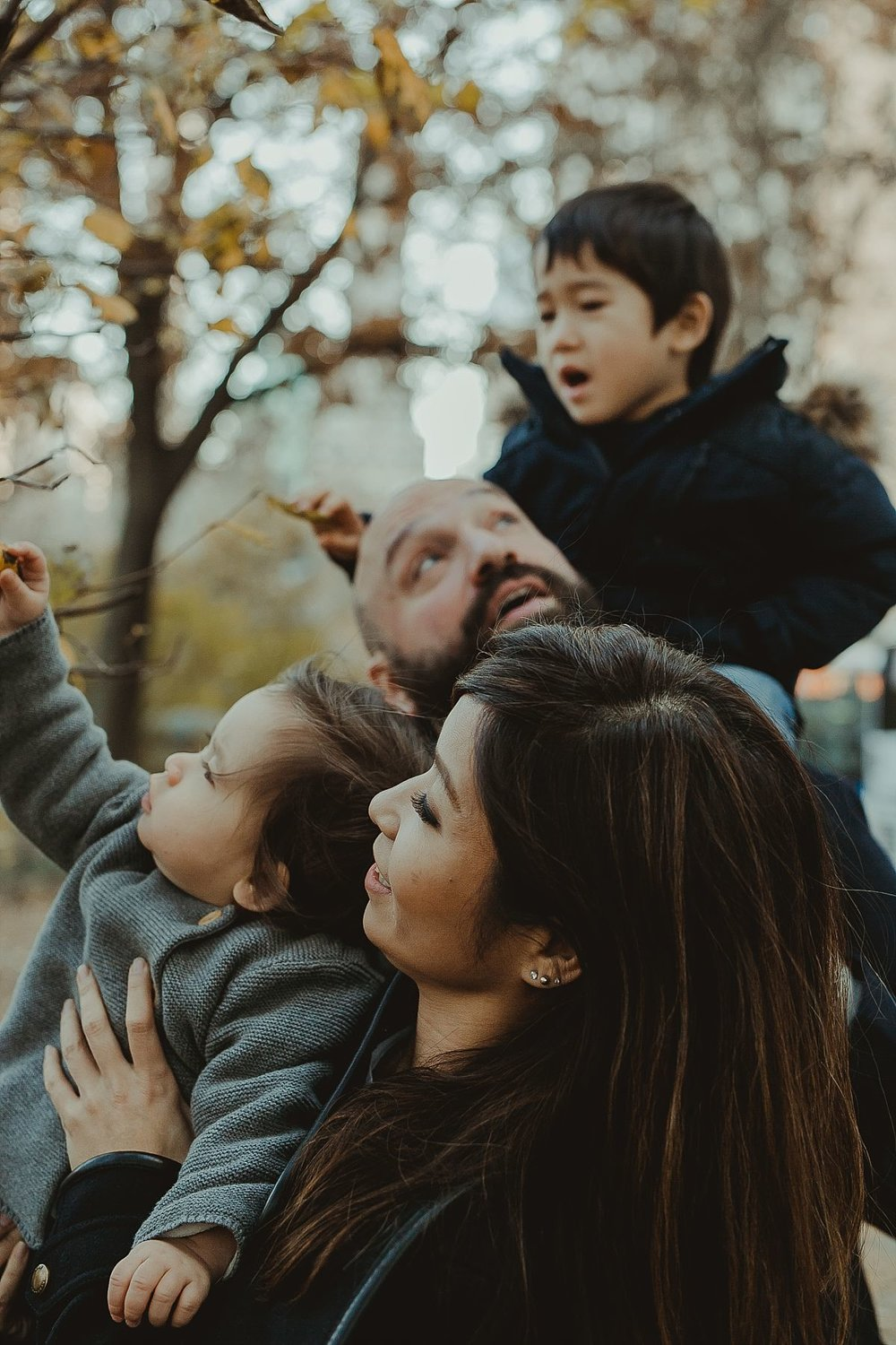 family playing with trees at the bottom of central park on chilly winters day. photo by nyc family photographer krystil mcdowall