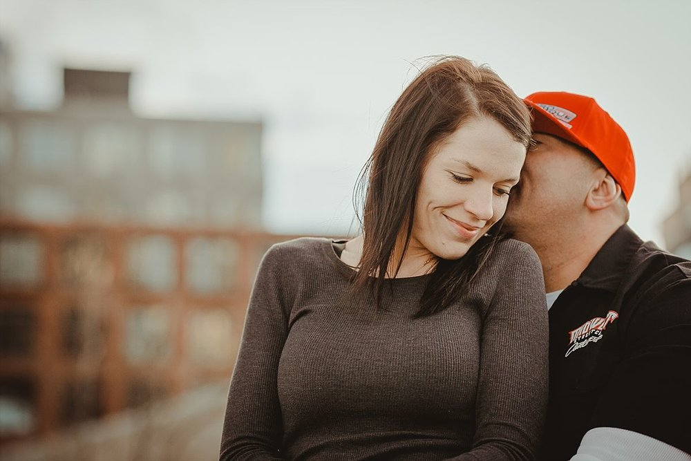 close up portrait of boyfriend and girlfriend in dumbo brooklyn. image by nyc family photographer krystil mcdowall