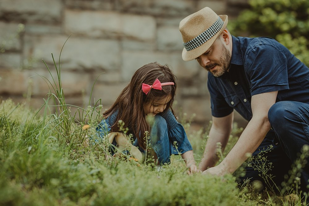 young girl and dad exploring green grass and yellow dandelions in brooklyn during family photo session in nyc. photo by nyc family and newborn photographer krystil mcdowall