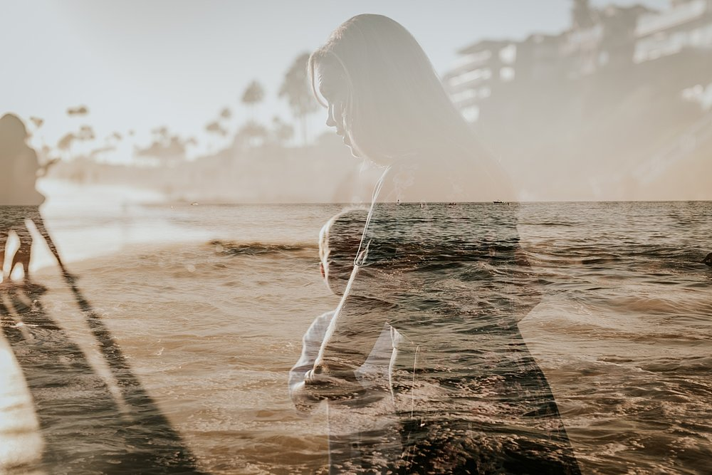orange county family photographer. double exposure photo of mom and her son walking into the waves at Corona del Mar State Beach