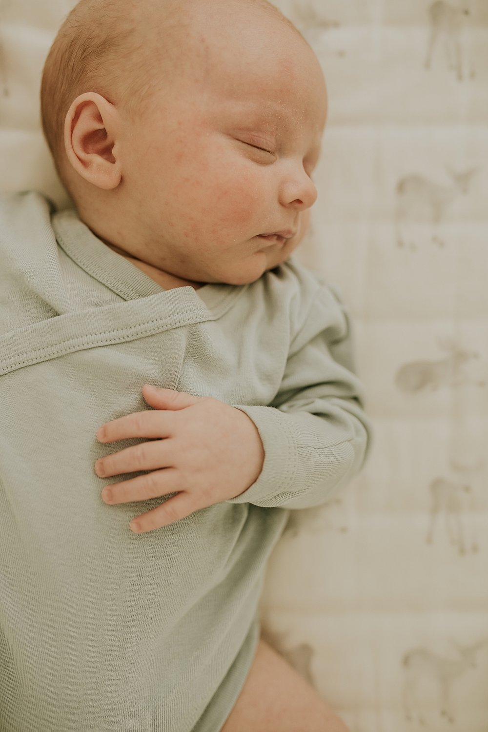 Orange County family photographer. Portrait of newborn boy sleeping sweetly in his crib during in-home newborn session with Krystil McDowall Photography