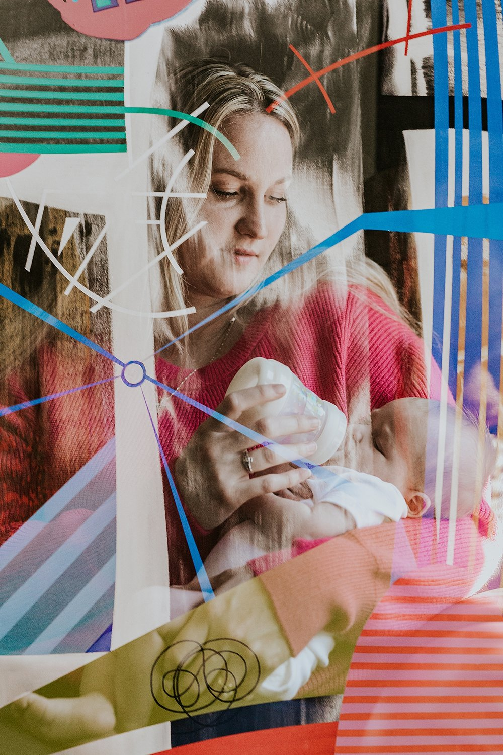 Orange County family photographer. Double exposure photo of family wall art and mom feeding her newborn son a bottle taken during newborn photo shoot in Mission Viejo Orange County