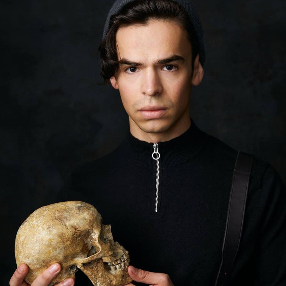 Hunter as Hamlet in 2018's  Freewill Shakespeare Festival .  Photo Credit:   Ryan Parker .