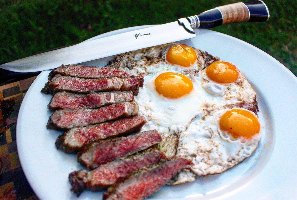 Gaucho Knife next to some steak & eggs.