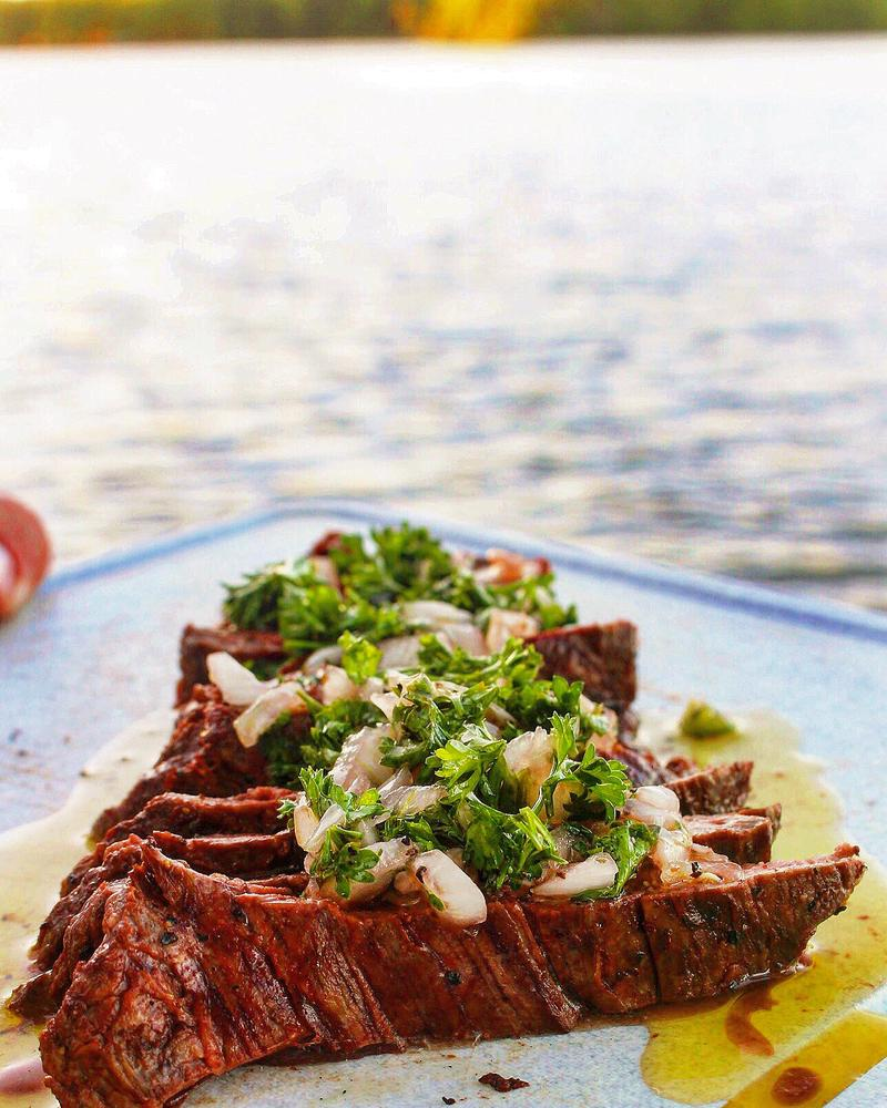 Skirt steak & chimichurri sauce.