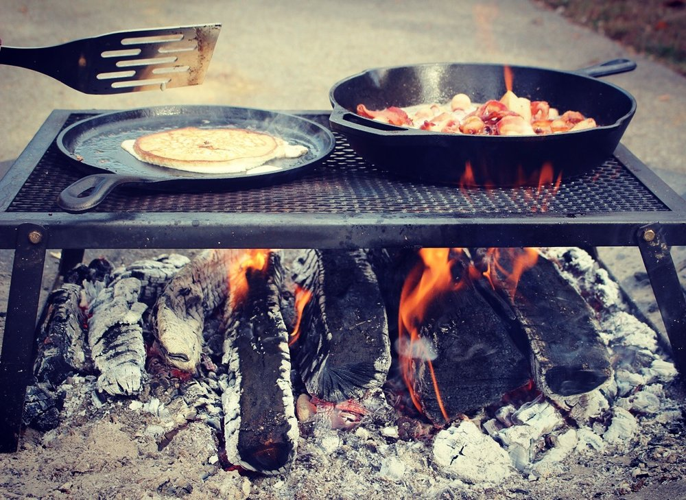 Pancakes & Bacon over the fire!