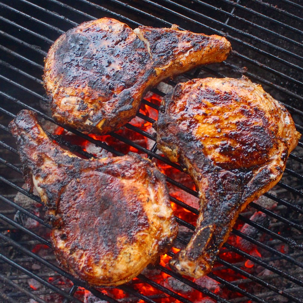 Pork chops on the grill!