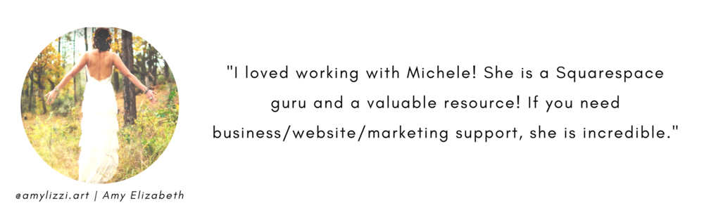 Amy Lizzi review of 1 on 1 squarespace training