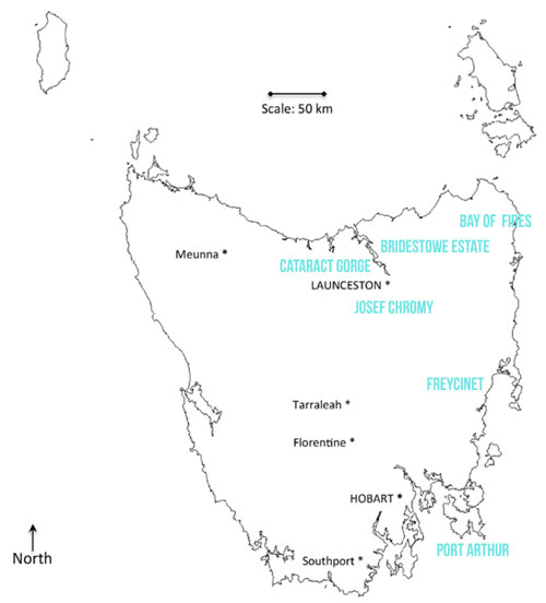 Map of Tasmania and Mister Weekender