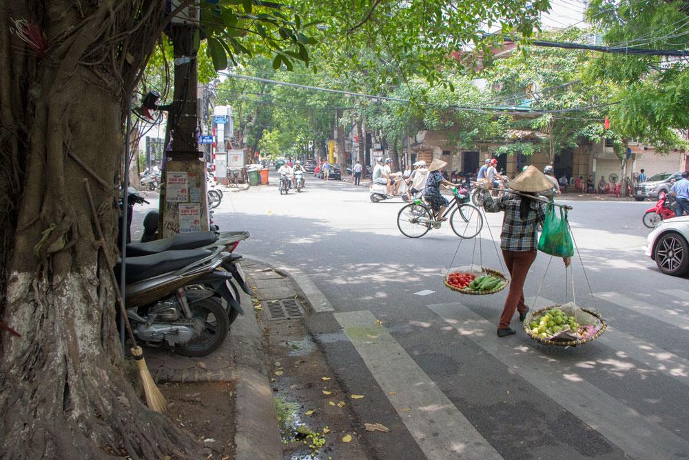 Bustling streets in Vietnam Hanoi