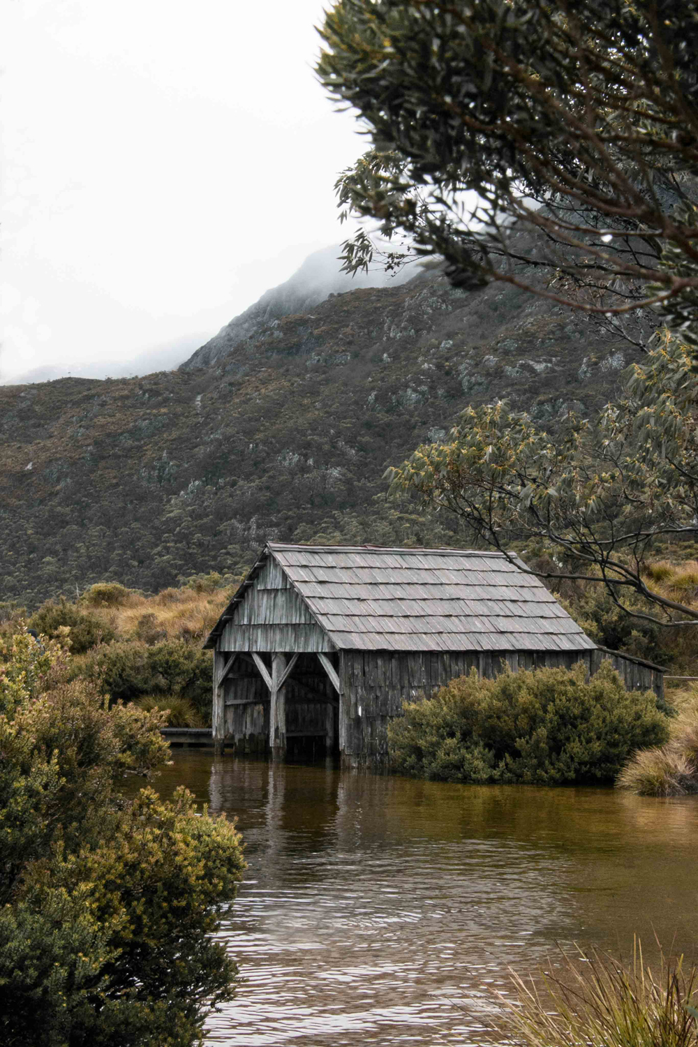 The beautiful boat shed at Dove Lake