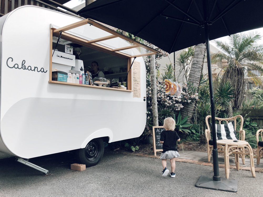 Dusty waiting for his baby cino from Cabana Cabarita