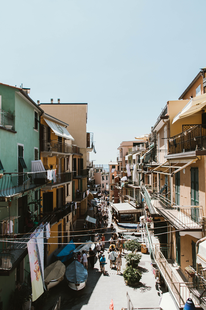Stepping off the train and walking down the Main Street of Manarola.