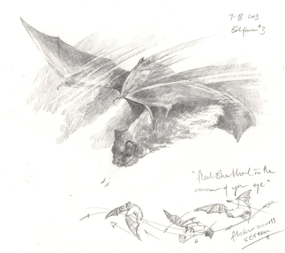 'Bats study' from  Beasties  collaboration with poet  Isobel Dixon