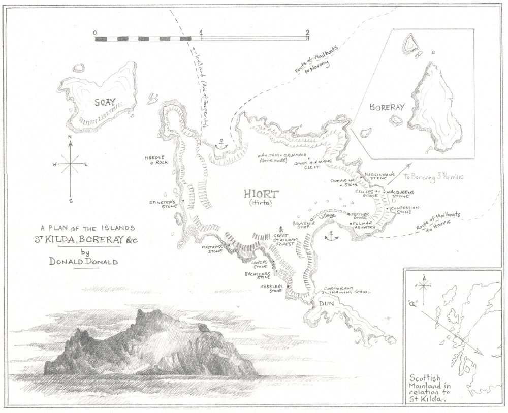 Fictitious map of St.Kilda, from The Guga Stone, Luath Press 2015