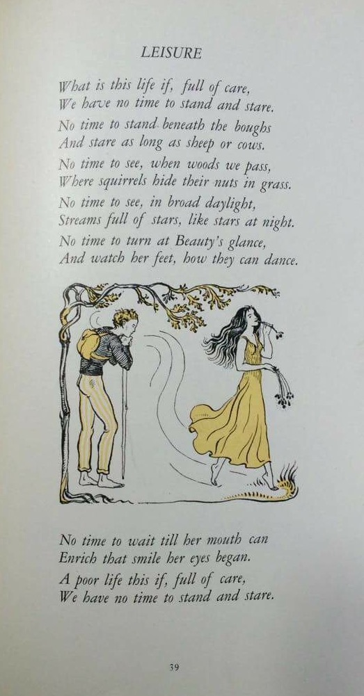 'Leisure' from Forty-nine Poems by W. H. Davies, Medici Society 1928.