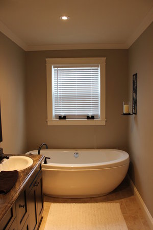 freestanding soaker tub in bathroom renovation
