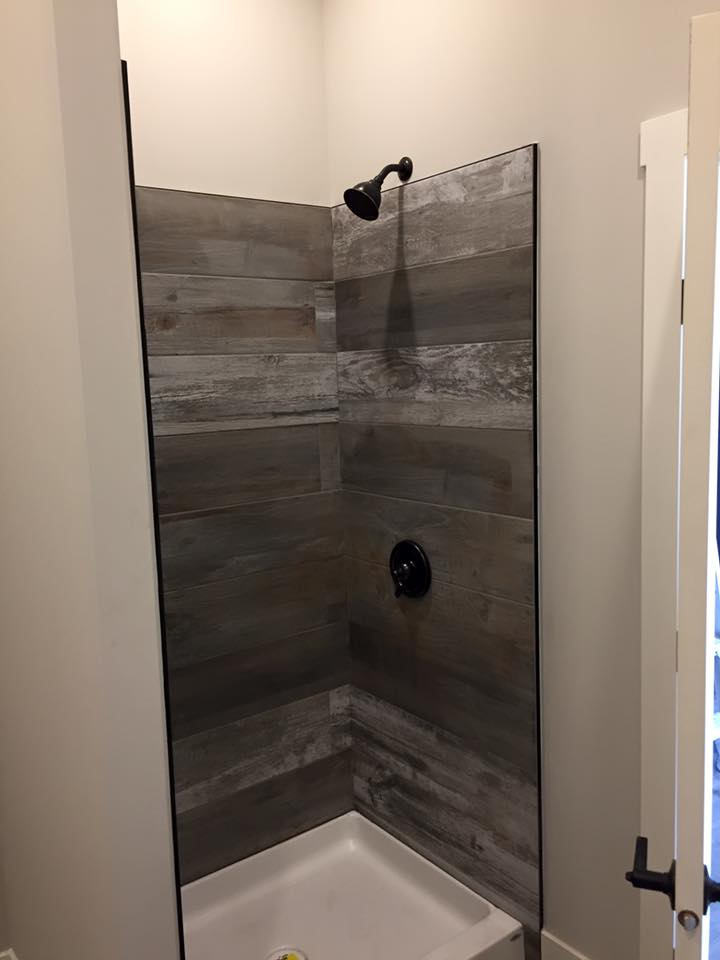 tiled shower in new construction