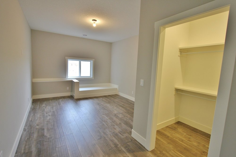 basement bedroom with walk in closet