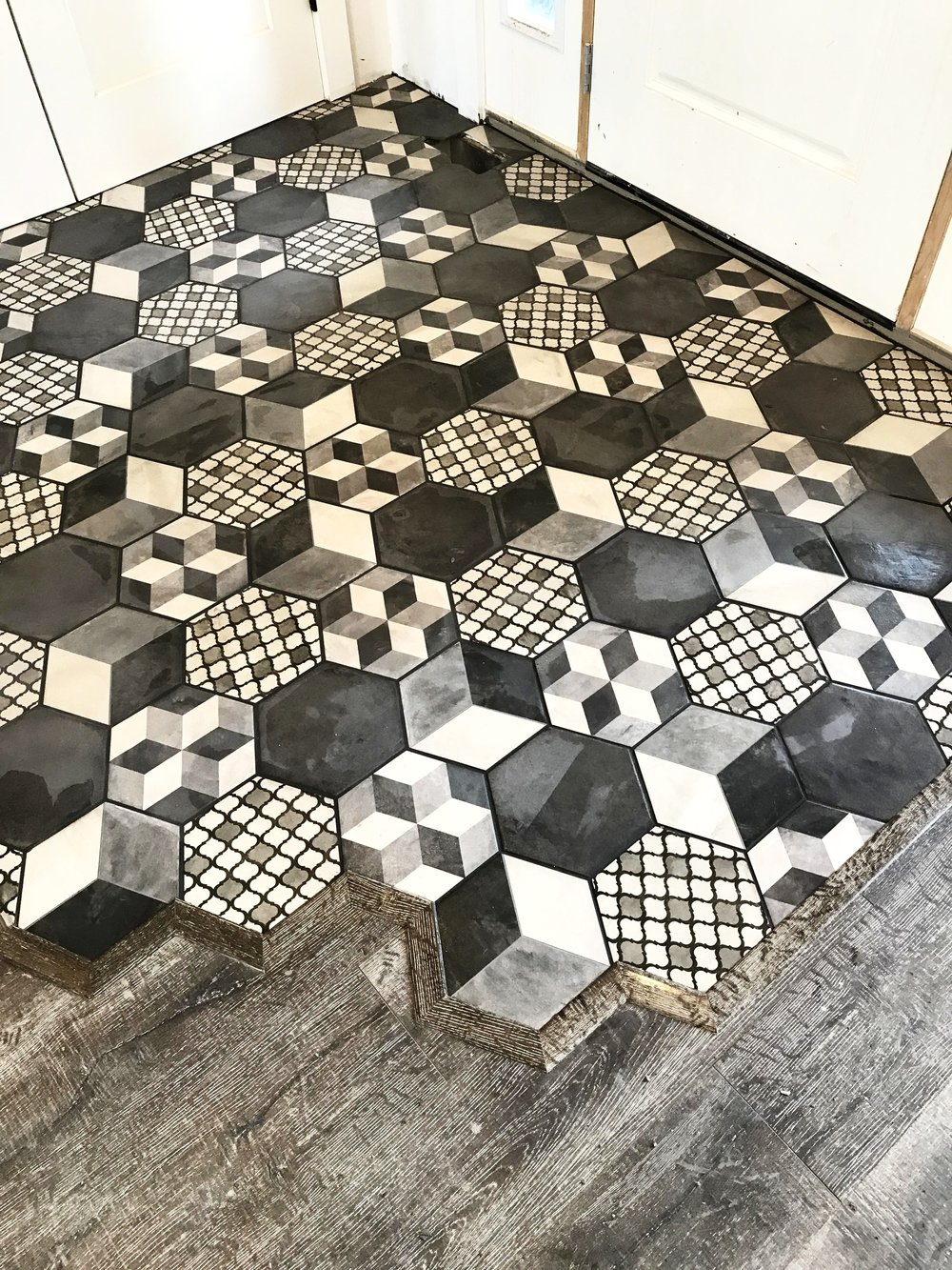 custom hexagon tile flooring.
