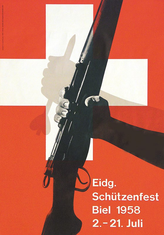 A Schutzenfeste poster depicting an ancient militia-man clutching a bolt while the modern Swiss militia-man holds his K31 service rifle.