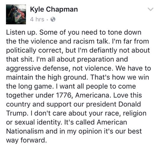 """Based Stick Man"" Kyle Chapman earned instant criticism from white nationalists for his public embrace of civic nationalism."