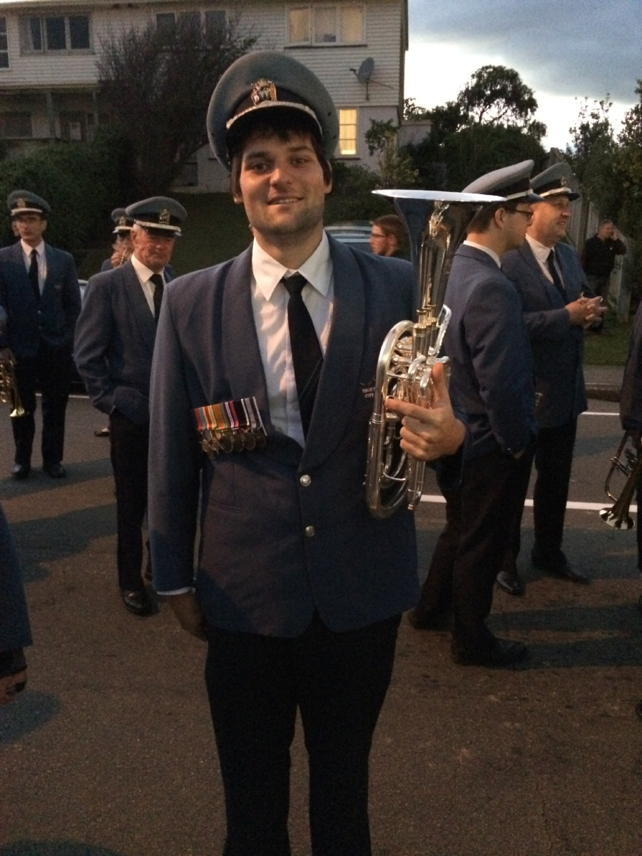 Tim Dawson (Dennis' son) wearing his grandfather's WWII medals at an ANZAC Dawn Service at the Porirua RSA.