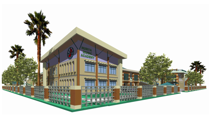 Plans for the New School building of Nunya Music Academy designed and drawn by Architect Roger Kodzo Amenyogbe (a Ghanaian-Canadian architect)