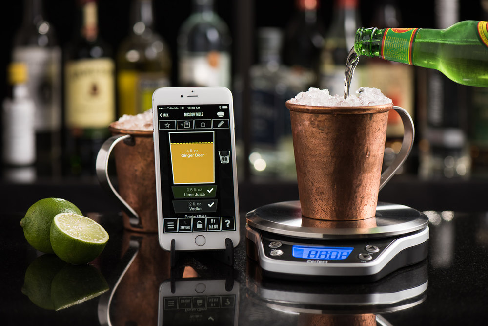 Product/food photography example: Perfect Drink Pro scale and app