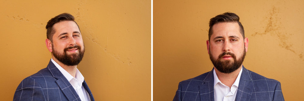 Diptych: Two headshots of Preston in front of a wall