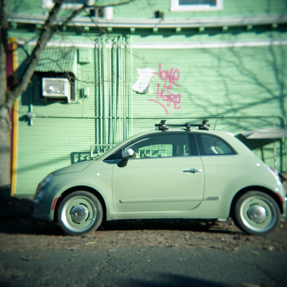 Holga photo of a parked car in Portland, Oregon