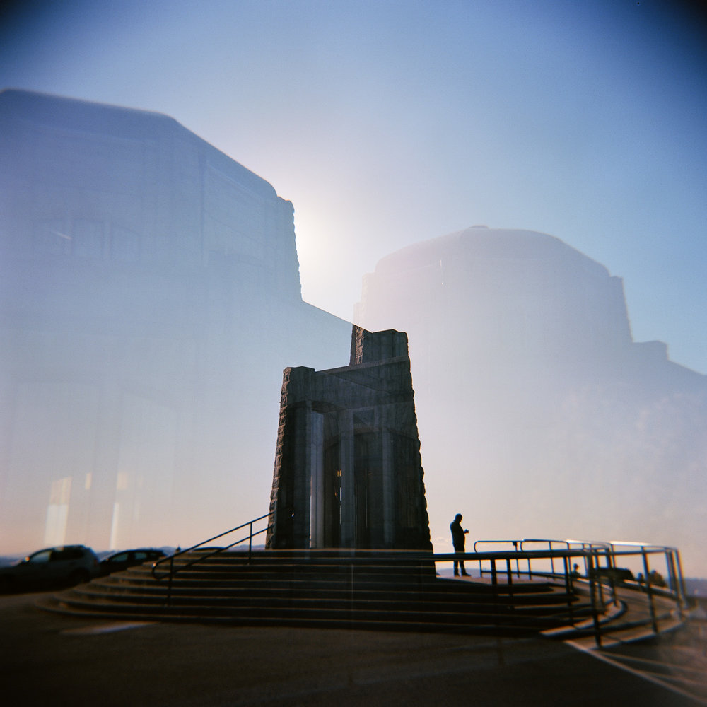 Double exposure Holga photo of The Vista House at Crown Point in the Columbia River Gorge