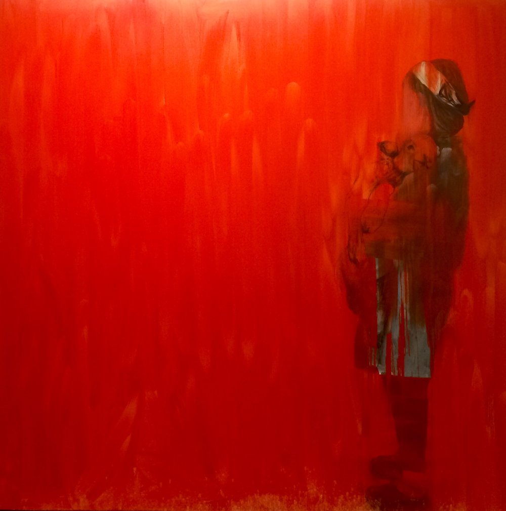 Sacrifice   oil and charcoal on canvas  72 x 72 inches  2016