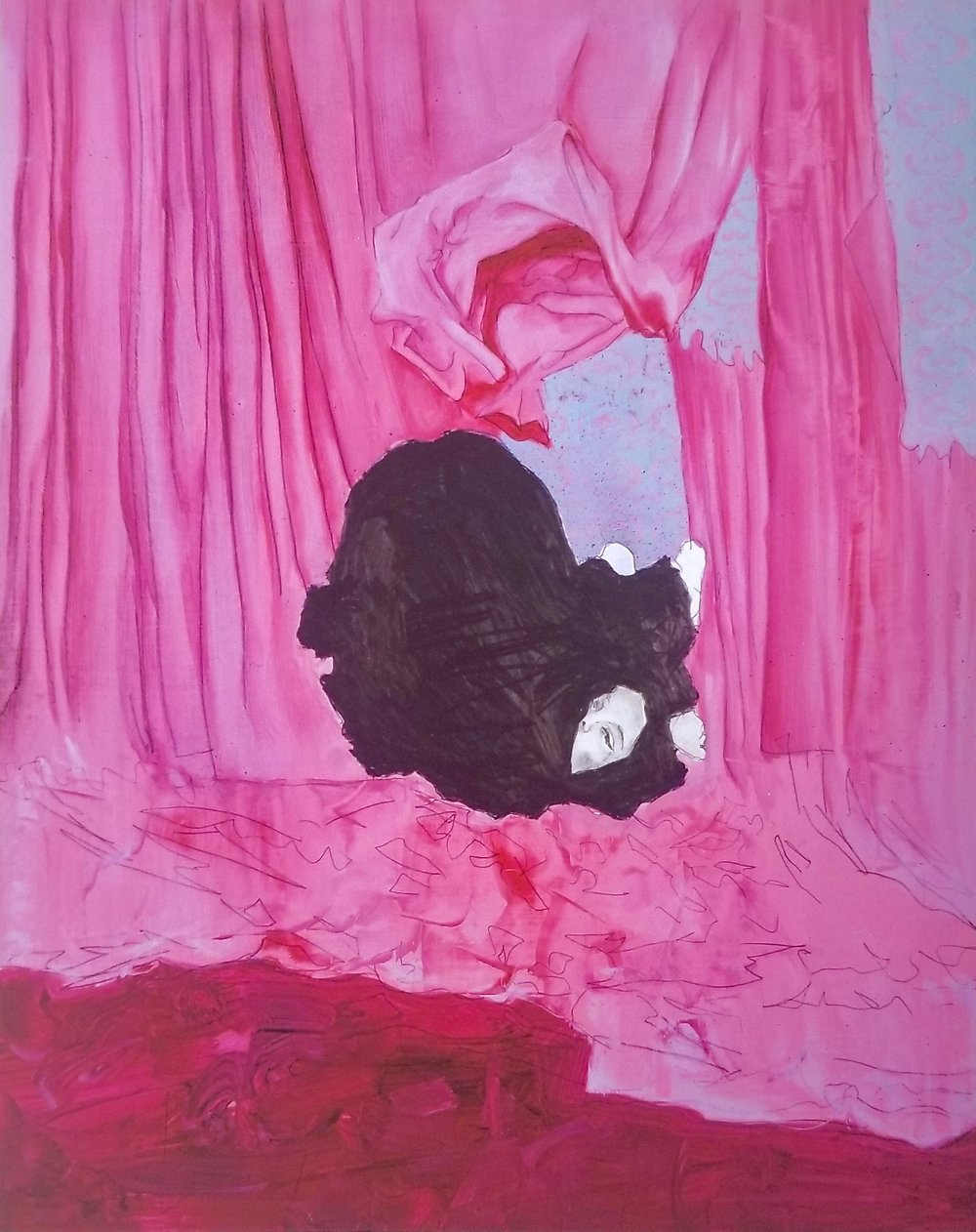 Untitled (Pink)   oil and graphite on panel  10 3/4 x 11 1/4 inches  2018