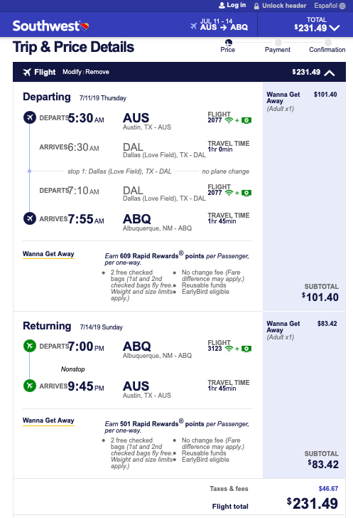 Great (early so we can spend more time in Santa Fe on our first day) flights on Southwest for under $250 roundtrip!