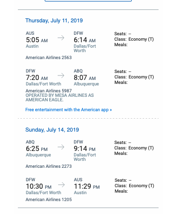 A few ladies are already on these two flights arriving in ABQ at 7:55am or 8:07am on Thursday* American Airlines or Southwest.