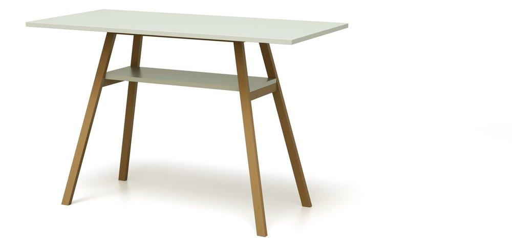 Stehtisch aus Holz auf Rollen in puristischem Design