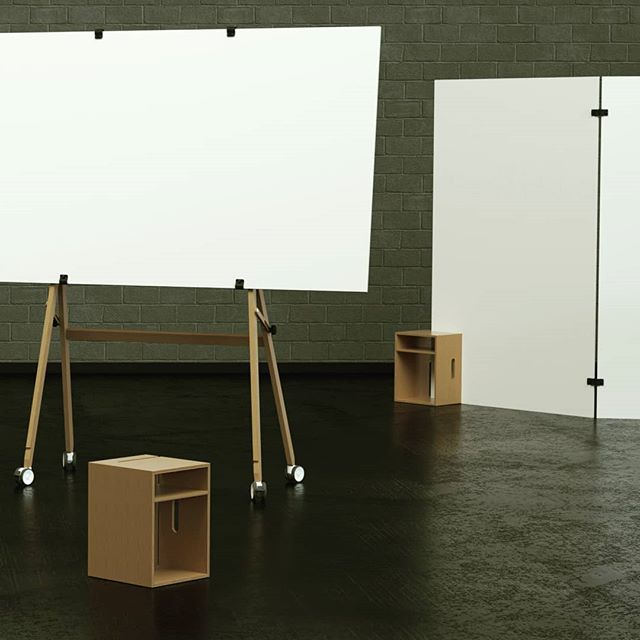 An Easel in landscape mode a Cube in stool mode and another one as support for two connected Studioboards. . . . . . . . . . . #designthinking #furnituredesign #officefurniture #whiteboard #workspace #design #idea #ideation #innovation #creative #woodworking #woodwork #3d #cad #animation # #aftereffects #c4d #octane #studiotools #lean #agile #ifdesignaward #photoshoot #photography #germandesignaward #maker #makersmovement #prototype #rendering