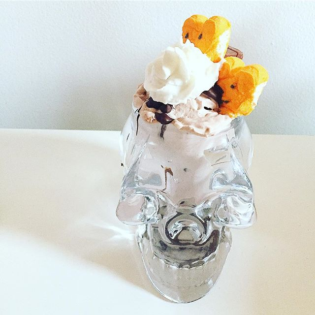Happy Halloween! We're celebrating with this spooky sundae made with candy bar ice cream, our magic chocolate shell hot fudge, whipped cream, and pumpkin peeps 😋🎃💀