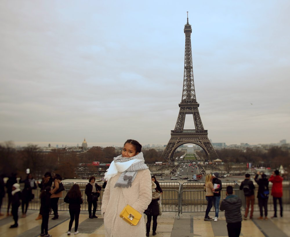 Eiffel Tower, Paris, France; Scarf: Nordstrom