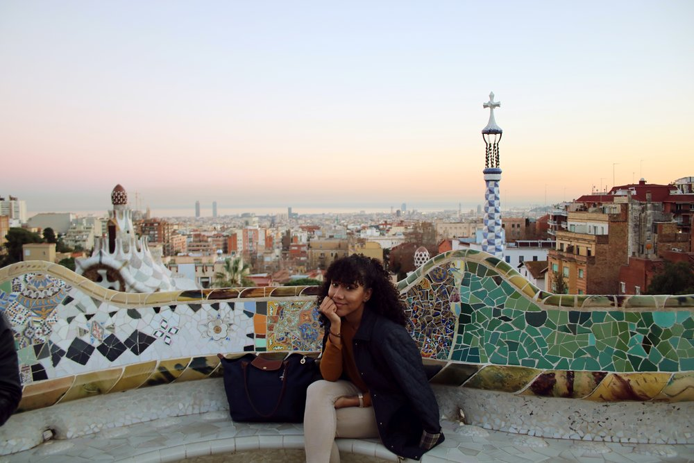 Park de Guell, Barcelona, Spain; Jacket: L.L Bean; Purse: Longchamp: Pants: Bershka