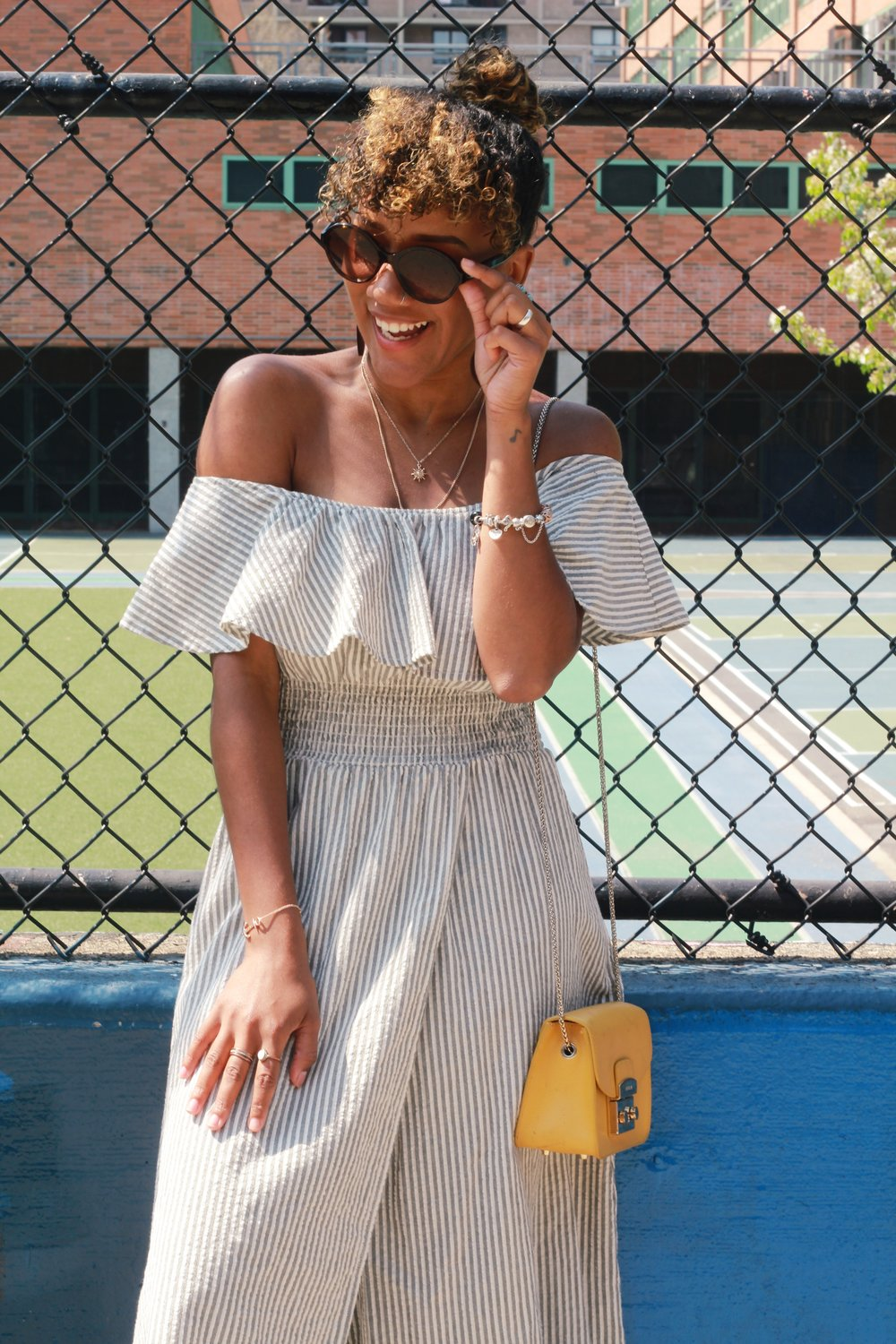 Dress: Zara; Sunglasses: Chanel; Necklace: Forever21; Bracelet (Left): Paul Hewitt; Bracelet (Right): Pandora; Purse: Furla; Photography by Nikki Price