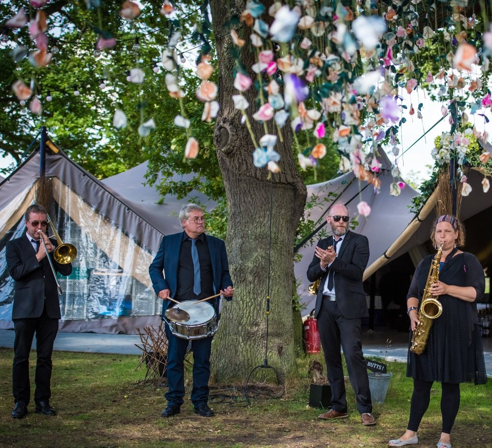 Brass Junkies Wedding Under Tree