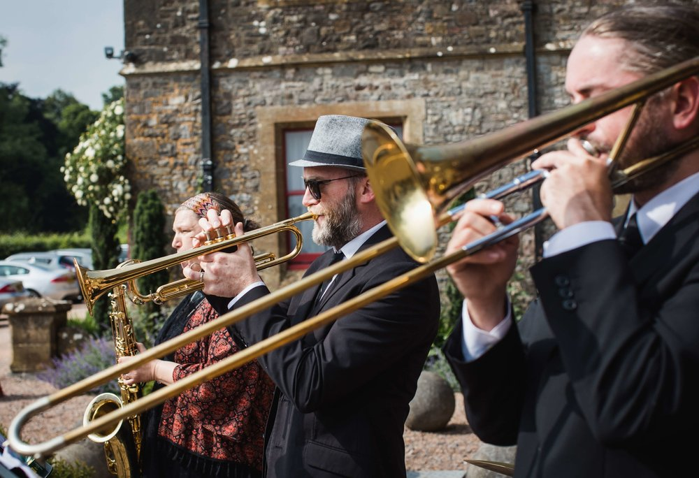 Brass Junkies Outside Wedding
