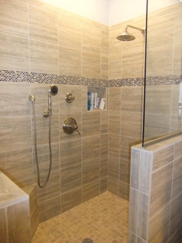 Captivating Master Bath Half Wall Glass Shower. Divider Between Shower And Toilet.  Bench In Shower?
