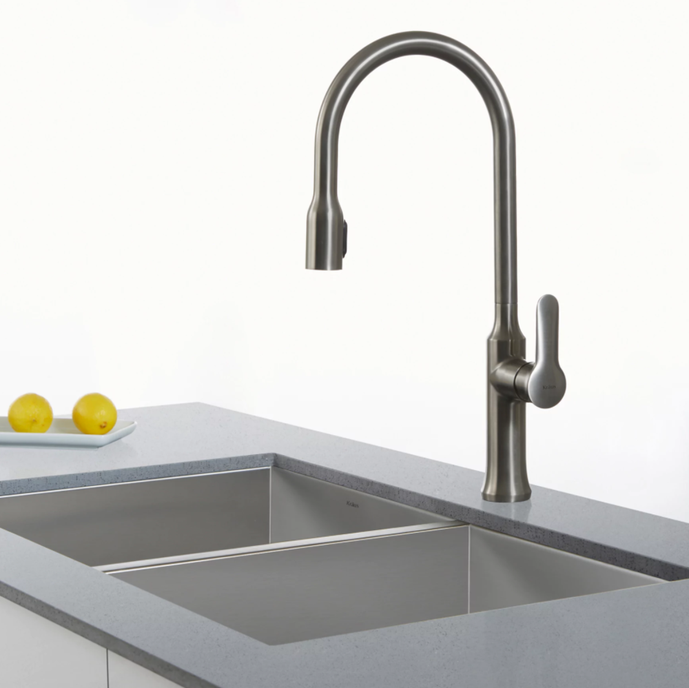 KRAUS Nola Single Handle Kitchen Faucet With Concealed Pull Down  Dual Function Sprayer In Stainless Steel