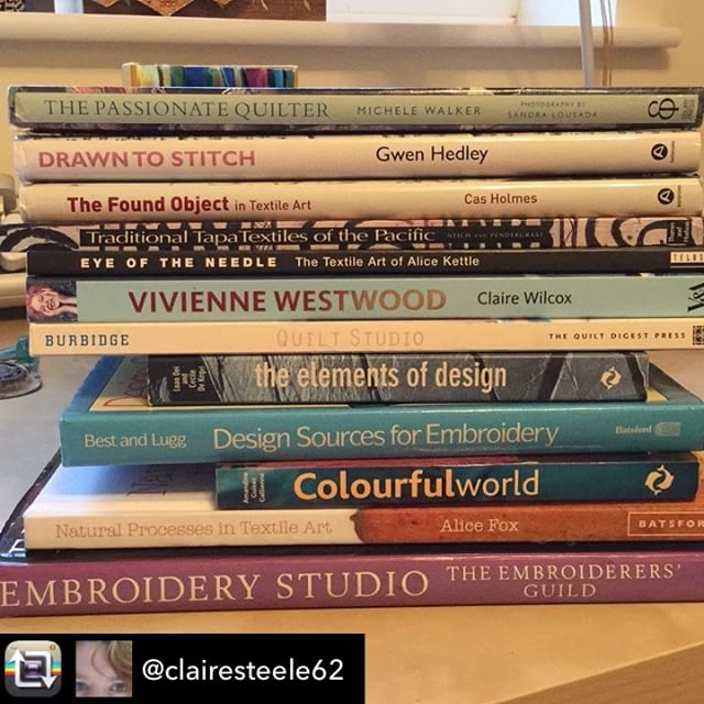 Books for practice -textile studio staples. . Repost from @clairesteele62 using @RepostRegramApp - #septtextilelove day 18, book. Choosing a single book was too difficult, this stack represents what I view as the core of my textile library. There's an eclectic mix here, that charts my textile interests as a quilter and an embroiderer, and my detours into fashion, traditional textiles and books of inspiring photos.  #textiles #textilesresearch #phdbypractice #craftreaders #textilesbooks