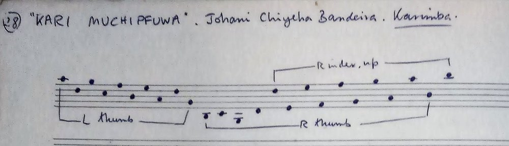 Layout of Johani Chiyeha Bandeira's karimba, by Andrew Tracey in 1969.