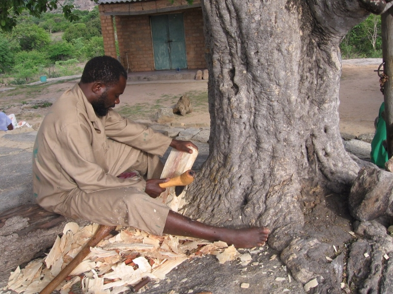 Kuda builds the sound board of a new madhebhe with a mbezo (an adze).