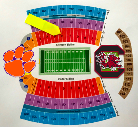 CLEMSON VS USC FOOTBALL TICKETS   Don't miss the The Palmetto Bowl annual rivalry game between Clemson's Tigers and USC's Gamecocks on November 24, 2018. You can't beat these (2) 40-yard-line tickets on the Clemson Home Side (South Stands, Lower Level, Section E, approx. 30 rows up). *Parking pass is NOT included.  DONOR: Lisa and Bob Buresh VALUE: $220 Face Value